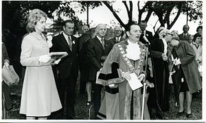 William McMahon - Lady McMahon (left) with the Mayor of Blue Mountains. William McMahon can be seen in the background.