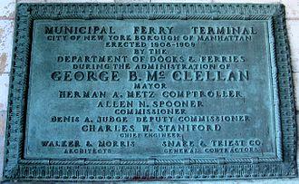 Staten Island Ferry Whitehall Terminal - 1909 Terminal plaque