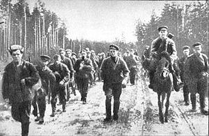 Soviet partisans - Soviet partisans on the road in Belarus, 1944 counter-offensive.