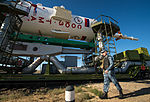 Soyuz TMA-09M spacecraft roll out by train 7.jpg