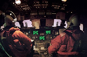 Atmospheric entry - STS-42 re-entry Space Shuttle flight deck view
