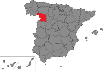 Zamora (Congress of Deputies constituency) - Location of Zamora within Spain