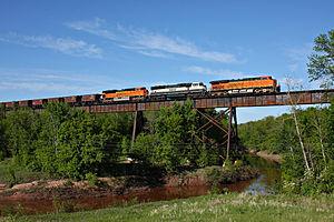 Nemadji River - A BNSF Railway freight train crosses the Nemadji near Boylston, Wisconsin.