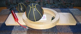 Balance board - The underside of a sphere-and-ring board