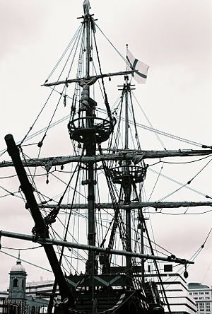 Rigging - The rigging of a square rigger in London.