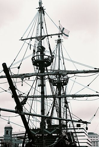 Square rig - The Golden Hinde, a square-rigger with several of its lines unshipped, in dry dock in London
