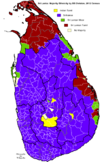 Distribution of majority ethnicity by DS Division according 2012 census