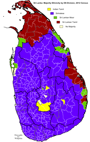 Demographics of Sri Lanka - Majority ethnicity by DS Division according 2012 census