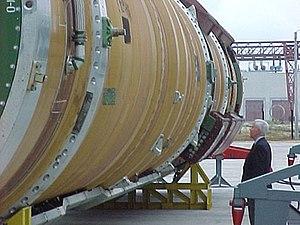 R-36 (missile) - Senator Richard Lugar inspects an SS-18 ICBM being readied for decommission under the Nunn-Lugar Program