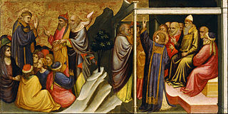 Predella Panel Representing the Legend of St. Stephen: St. Stephen Preaching / St. Stephen before the High Priest and Elders of the Sanhedrin