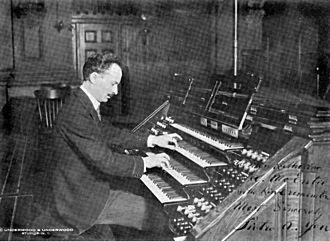Casavant Frères - Pietro Yon at the console of a Casavant Frères organ, 1919