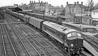 British Rail Class 44 - D1 Scafell Pike at Stafford on the WCML working a passenger tain, 14 April 1960.