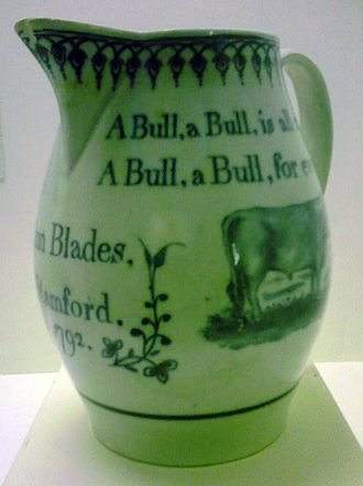 Stamford, Lincolnshire - A jug commemorates Ann Blades - a Stamford bull runner in 1792