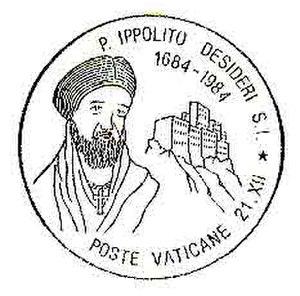 Ippolito Desideri - Postmark with the image of Ippolito Desideri in 1984