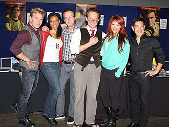 Star Trek Continues - The cast of Star Trek Continues at Supanova 2014. From left to right: Vic Mignogna, Kim Stinger, Christopher Doohan, Chuck Huber, Michele Specht, and Grant Imahara.