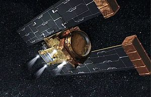 Stardust (spacecraft) - Artist's impression of the Stardust spacecraft performing a burn-to-depletion at the end of the Stardust NExT mission.