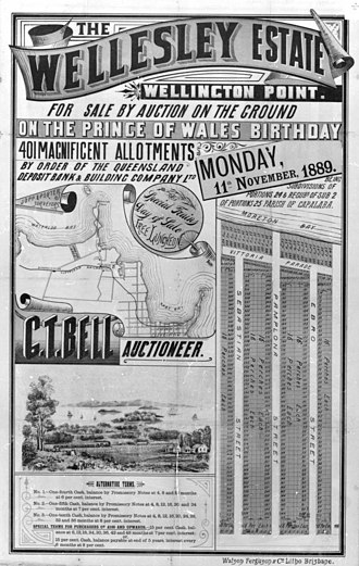 Birkdale, Queensland - Advertising poster for land sale at Wellington Point (now Birkdale), 1889