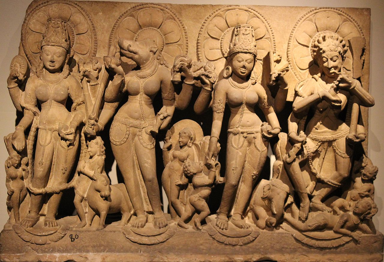 Statues of Vaishnavi, Varahi, Indrani and Camunda, National Museum, New Delhi.jpg