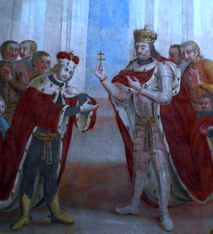 Stephen I of Hungary is giving Holy Cross relics to his son Saint Emeric, by Maciej Reichan 1782.PNG