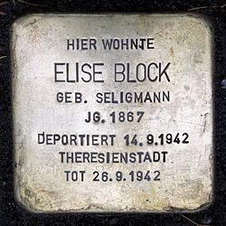 Photo of Elise Block brass plaque