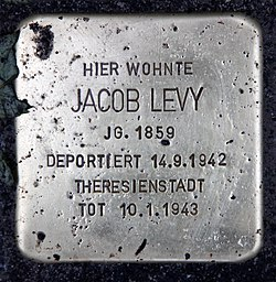 Photo of Jacob Levy brass plaque