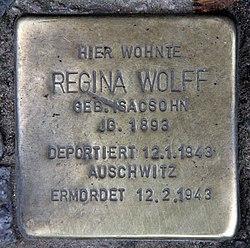Photo of Regina Wolff brass plaque