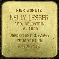 Photo of Nelly Lesser brass plaque
