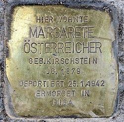 Photo of Margarete Österreicher brass plaque