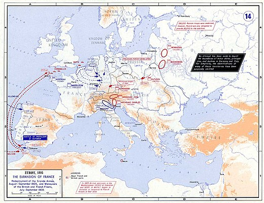 European strategic situation in 1805 before the start of the Ulm Campaign and the war. Strategic Situation of Europe 1805.jpg