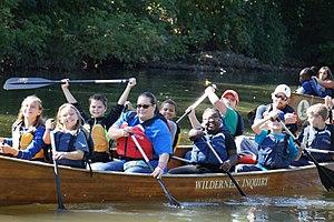 Trail Creek (Lake Michigan) - Students paddle on Trail Creek as part of Trail Creek Week