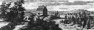 Suecia Antiqua et Hodierna - Image: Suecia 3 017 ; Charlottenborg och Motala kyrka i Suecia antiqua et hodierna