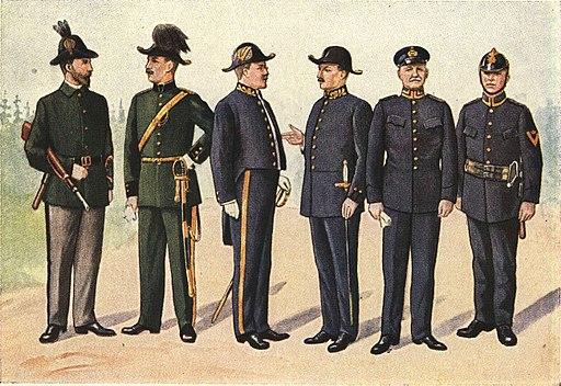 aef002736631 Svenska civiluniformer, från vänster: 1. Kronojägare; 2. Jägmästare; 3.  Landsfogde; 4. Landsfiskal; 5. Brandchef; 6. Brandförman.