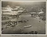 Sydney Harbour Bridge with HMAS Canberra in foreground taken from Farm Cove, 19 March 1932 (6173528239).jpg