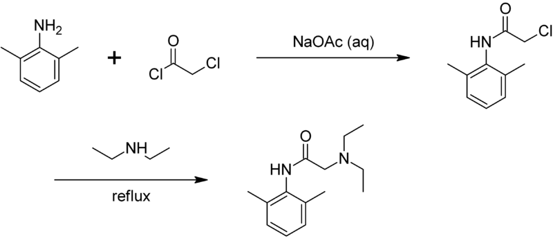 [Immagine: 800px-Synthesis_of_lidocaine.png]
