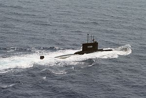 Type 209 submarine - Starboard view of Turkish submarine TCG Batıray (S-349).