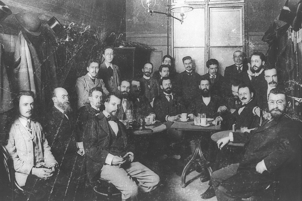 THEODOR HERZL (SEATED AT CENTER OF TABLE) WITH MEMBERS OF THE ZION ORGANIZATION IN THE LUBER CAFE IN VIENNA, 1896. תאודור הרצל עם חברי אגודת ציון בקפה לובר בווינה. 1896