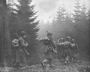 325th Infantry Regiment (United States) - Men of the 325th Glider Infantry Regiment moving through fog to a new position, Belgium, December 1944.