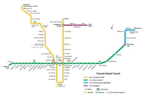 Toronto Subway Map.List Of Toronto Subway Stations Wikipedia