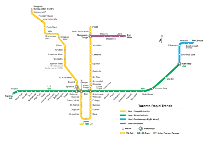 A map of the Toronto Subway/RT network.