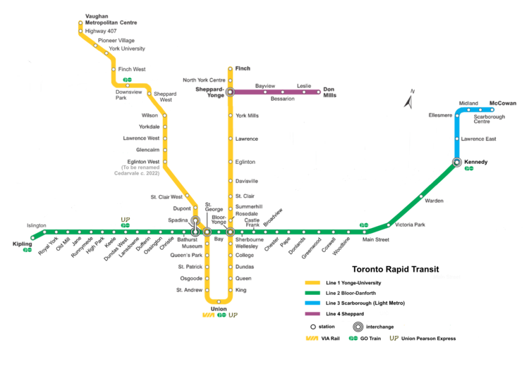 A map of the Toronto subway network