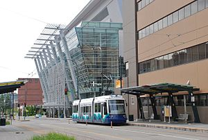 Sound Transit - Tacoma Link train in front of the Tacoma Convention Center