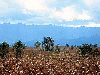 Tak Province - Cornfields and the mountains of Burma south of Mae Sot