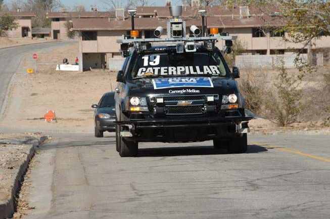 "File:Tartan Racing's (Carnegie Mellon University) ""Boss,"" the first place finisher in the DARPA Urban Challenge, on the course.tiff"