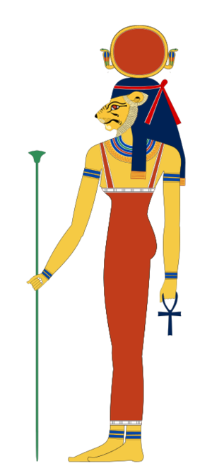 Tefnut - The goddess Tefnut portrayed as a woman, with the head of a lioness and a sun disc resting on her head.