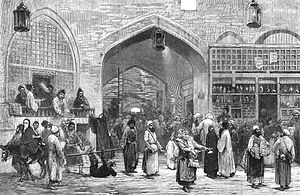 Grand Bazaar, Tehran - An 1873 illustration of the Grand Bazaar of Tehran.