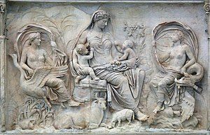 Roman sculpture - Allegorical scene from the Augustan Ara Pacis, 13 BCE, a highpoint of the state Greco-Roman style.