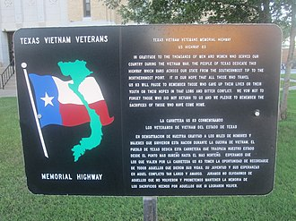 U.S. Route 83 in Texas - Image: Texas Vietnam Veterans Memorial Highway sign in Perryton IMG 6012