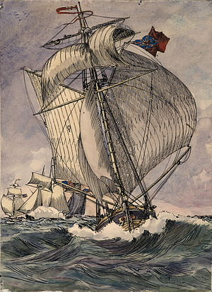 """Governor Simcoe (1793 ship) - Image: The """"Governor Simcoe"""" was pursued by an American squadron while trying to enter Kingston harbour"""