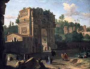 Arch of Constantine - The Arch of Constantine, Rome - painted by Herman van Swanevelt, 17th century
