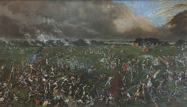 The Texian Army of Sam Houston soundly defeats Mexican forces at the Battle of San Jacinto ending the hostilities of the Texas Revolution. The Battle of San Jacinto (1895).jpg